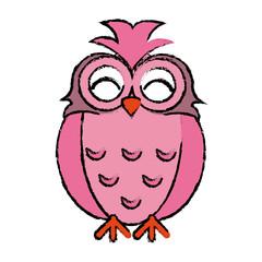 drawing pink owl loving vector illustration eps 10