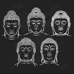 Buddha face set isolated on a black background. Esoteric vintage