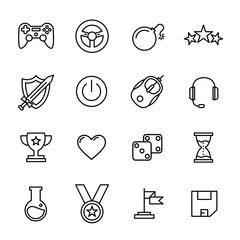 Set of game icons in modern thin line style.