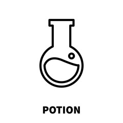 Potion icon or logo in modern line style.