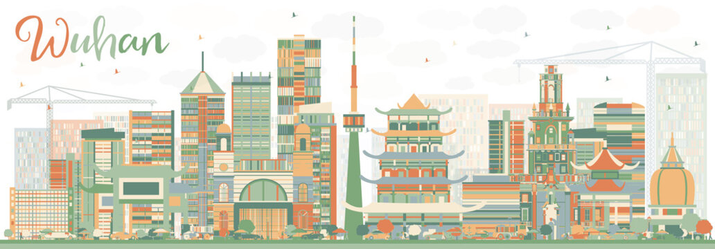 Abstract Wuhan Skyline with Color Buildings.