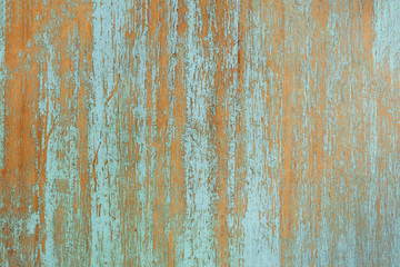 Teal and orange wooden boards background texture