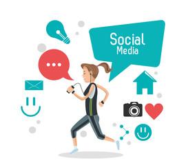 girl social media mobile phone bubble speech camera vector illustration eps 10