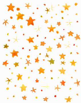 Abstract vector and watercolor yellow stars