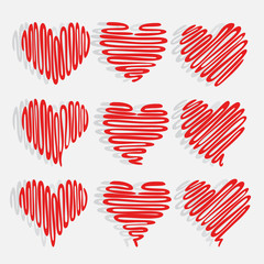 Heart Background Red Heart shapes on abstract Drawing freehand  background in love concept.vector