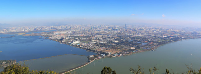 Aerial view of Kunming, the capital of Yunnan province in Southern China, from XiShan Western Hill Papier Peint