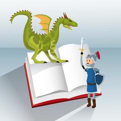 dragon knight book tale fantasy vector illustration eps 10