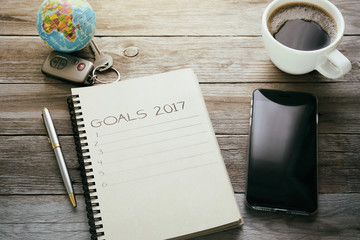Goals list with cup of coffee on office desk