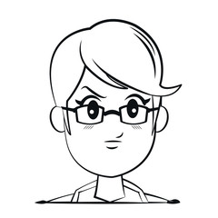 portrait face woman angry glasses outline vector illustration eps 10