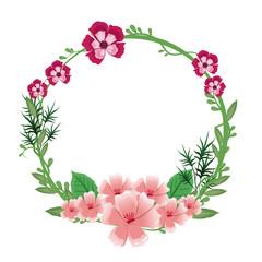 flower round frame wreath floral ornate vector illustration eps 10