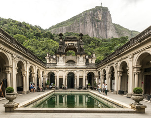 """RIO DE JANEIRO, BRAZIL: view of the """"Parque Lage"""" Lage park. in Jardim Botanico neighborhood."""
