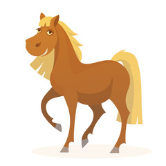 Vector smiling funny cartoon horse character