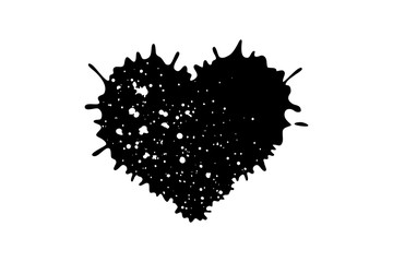 Heart shaped paint splatter, vector illustration