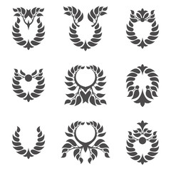 Set of abstract foliate element. Laurel wreath.