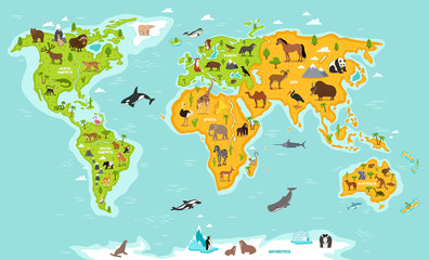 World map with wildlife animals and plants.