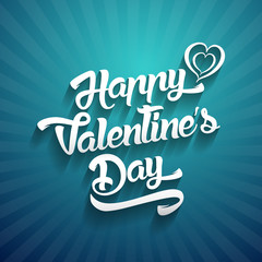 Happy Valentines Day handwritten lettering design text on color background.