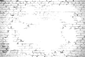 Brick wall with stained whitewash background with space for your