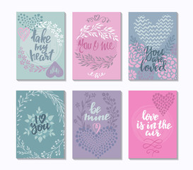 Collection of romantic and love cards with hand drawn elements