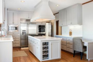 White / Grey Kitchen with kitchen Island.