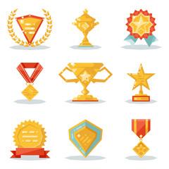 Gold Awards Win Symbols Trophy Isolated Polygonal Icons Set Flat Design Vector Illustration
