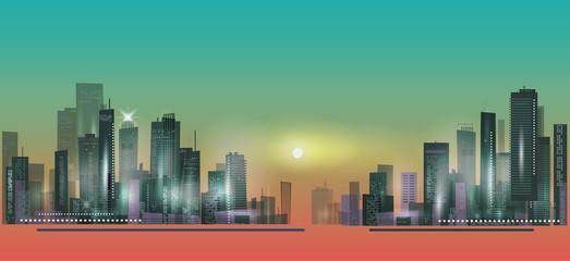 City panorama at sunset