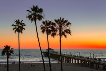Manhattan Beach at sunset, California. Vintage processed. Fashion travel and tropical beach concept.