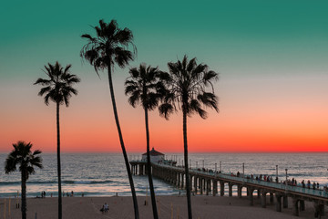 Manhattan Beach and Pier on sunset in Southern California in Los Angeles. Vintage processed. Fashion travel and tropical beach concept.