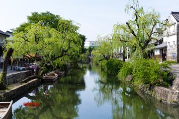 Kurashiki river in Kurashiki city of Japan