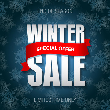 Winter sale badge, label, promo banner template. Special winter sale offer text on red ribbon.