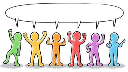 Motivierte und erfolgreiche Business-Strichmännchen mit Sprechblase – farbig, bunt, gezeichnet, handgezeichnet, Zeichnung, schraffiert, Design, Vektor, freigestellt