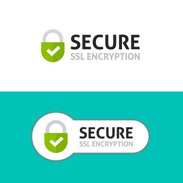 SSL secure https connection icon vector illustration isolated on white background, flat style secured website ssl shield symbols, protected safe data encryption technology, certificate privacy sign