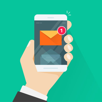 New email notification notice on mobile phone vector illustration, smartphone screen with new unread e-mail message and read mail envelope icons, inbox concept