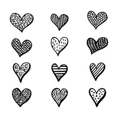 Hand drawn hearts set for Valentines Day isolated on the background. Fun brush ink illustrations for photo overlays, t-shirt print, flyer, poster design