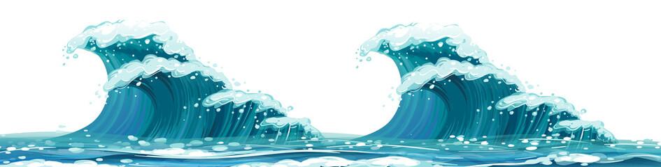 Giant waves on white background