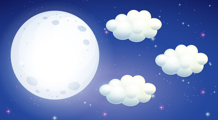 Scene with full moon and clouds