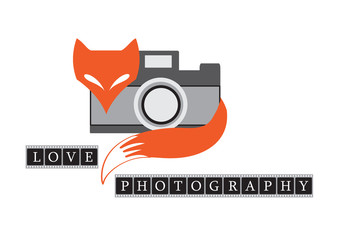 vector illustration of fox with retro camera