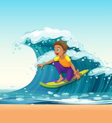 Man surfing on big waves