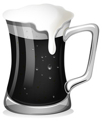 Fresh beer in black and white
