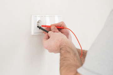 Electrician working , close-up of Electrician work