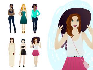 Beautiful, hipster, elegant, fashion girls and women. Hand drawn elements, cartoon character set, vector illustration.