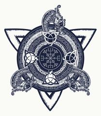 Celtic cross tattoo art and t-shirt design. Dragons, symbol