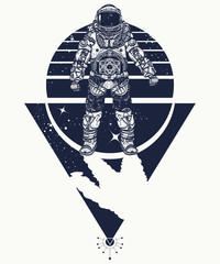 Astronaut in space, tattoo. Cosmonaut