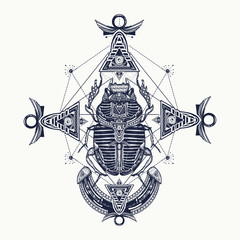 Scarab, tattoo, ancient Egypt, mythology. Egyptian scarab