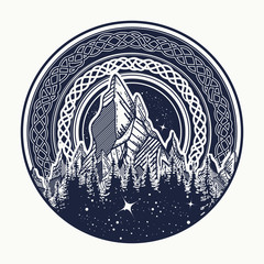 Mountains in the circle tattoo, celtic style. Great outdoors