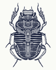 Scarab tattoo, ancient Egypt art. Spiritual symbol of pharaoh