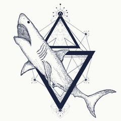Shark tattoo geometric style. Tribal art