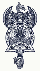 Thor's Hammer tattoo. Axe viking, warrior fox, celtic style