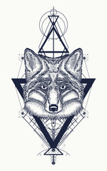 Fox tattoo geometric style. Mystical symbol of adventure, dreams