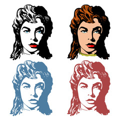 Beautiful women, logo for beauty shop, hairdressing salon