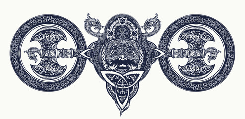 Viking tattoo, Celtic style. North warrior head t-shirt design